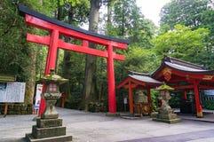 Portone rosso di Torii all'entrata del santuario di Hakone Fotografia Stock Libera da Diritti