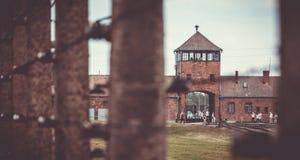 Portone storico I di Auschwitz Fotografia Stock Libera da Diritti