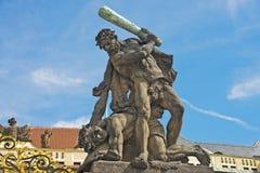 Portoni del castello di Praga & plaza, Praga, repubblica Ceca Fotografia Stock Libera da Diritti