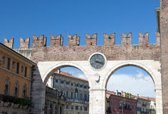 Portoni della Bra, medieval gate leading to the Piazza Bra Royalty Free Stock Images