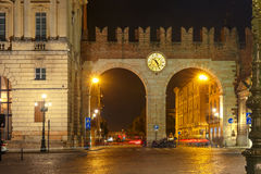 Portoni della Bra at night in Verona, Italy. Royalty Free Stock Image