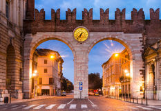 Portoni della Bra in Verona, Ialy. Portoni della Bra, one of medieval entrance of historical city Verona, northern Italy royalty free stock images