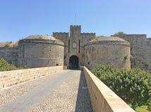 Portoni di Rhodes Old Town Fortress, Grecia Fotografie Stock