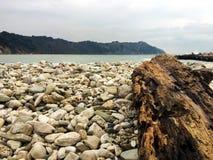 Portonovo strand i en vinterdag royaltyfri foto