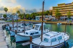 Portopetro port, Mallorca - Spain. Traditional passenger motor boat of Mallorca, in Portopetro port, Spain Royalty Free Stock Photo