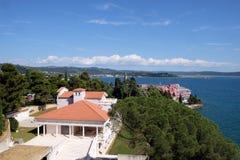 Adriatic sea coast landscape in Portoroz, Slovenia stock image
