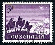 Portostämpel för 1959 australisk jul Fotografering för Bildbyråer
