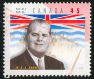 portostämpel som skrivs ut av Kanada Arkivbild