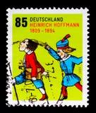 Portostämpeln ägnade till födelsetvåhundraårsdagen av Heinrich Hoffmann, serie, circa 2009 Arkivbild