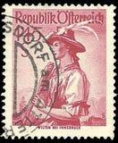 Portostämplar av Österrike från de provinsiella dräkterna 1948 för uppsättning Royaltyfri Bild