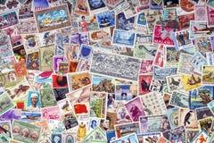 Portostämplar av världen - filateli Royaltyfria Bilder