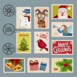 Portostämplar för jul Fotografering för Bildbyråer