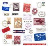 Portostämplar och etiketter från Australien Arkivfoton