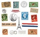 Portostämplar och etiketter från Frankrike Royaltyfri Fotografi