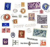 Portostämplar och etiketter från United Kingdom Royaltyfri Bild