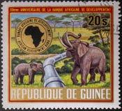 Portost?mpel 1975 Republic of Guinea fauna E royaltyfria foton