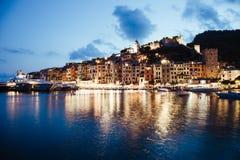 Portovenere海湾-风景在夜之前 库存照片
