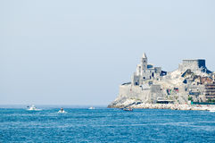 Portovenere. View of Portovenere and St. Peter church, ligurian sea, Italy Stock Images