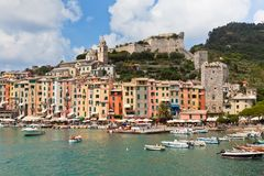 Portovenere Bay, Italy View. Bright houses of seafront Royalty Free Stock Images