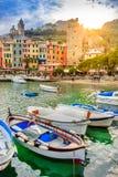 Portovenere, Cinque Terre, Italia, en la puesta del sol fotos de archivo libres de regalías