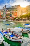 Portovenere, Cinque Terre, Italy, at sunset. royalty free stock photos