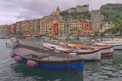 Portovenere,the famous typical houses named Palizzata stock image