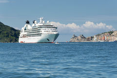 Portovenere in the gulf of poets, with docked cruise ship Royalty Free Stock Photos