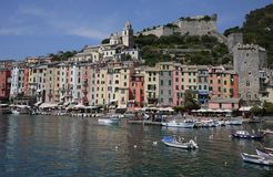 Portovenere, the harbor and the castle Royalty Free Stock Photo