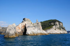 Portovenere harbor and church san Pietro Stock Photography