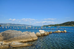 Portovenere harbour and sail boats Stock Photography