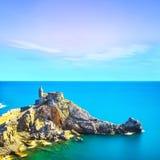 Portovenere, igreja de San Pietro Terre de Cinque, Liguria Italia imagem de stock royalty free