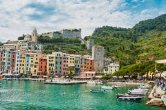 Portovenere Italy port. Nice Sunny day for perfect boat trip investigation famouse Cinque Terre region landmarks stock photography