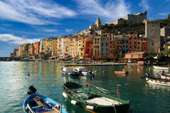 Portovenere Liguria Italy. The harbor with small boats and colorful houses of Portovenere in Liguria Italy Royalty Free Stock Image