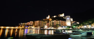 Portovenere by night. Liguria, Italy royalty free stock images