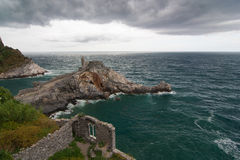 Portovenere old gotic church of St. Peter on the sea Stock Photos