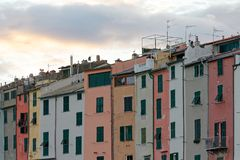 Portovenere painted houses of pictoresque italian village UNESCO. Heritage Site. ,italy Royalty Free Stock Photography