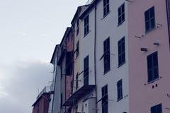 Portovenere painted houses of pictoresque italian village UNESCO. Heritage Site. ,italy Stock Photo