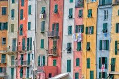Portovenere painted houses of pictoresque italian village. UNESCO Heritage Site Stock Image