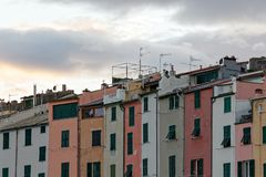 Portovenere painted houses of pictoresque italian village UNESCO. Heritage Site. ,italy Royalty Free Stock Photo