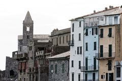 Portovenere painted houses of pictoresque italian village UNESCO. Heritage Site. ,italy Royalty Free Stock Image