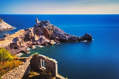 Portovenere, San Pietro church. Cinque terre, Liguria Italy Royalty Free Stock Images
