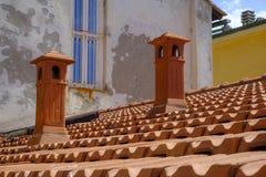 Portovenere taktegelplattor och lampglas Arkivbilder