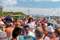 Portovenere. Tourists on board the pleasure boat. Stock Image