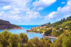 Portovenere village on the sea. Cinque terre, Ligury Italy. Portovenere old village on the sea and trees. Aerial view. Five lands, Cinque Terre, Liguria Italy Royalty Free Stock Images