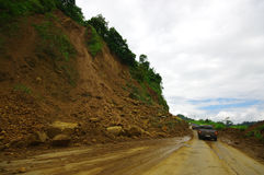 Portoviejo, Ισημερινού - 18 Απριλίου, 2016: Η καθίζηση εδάφους εμποδίζει το δρόμο στην ακτή μετά από 7 σεισμός 8 στοκ φωτογραφίες με δικαίωμα ελεύθερης χρήσης