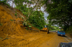 Portoviejo, Ecuador - April, 18, 2016: Landslide blocks road to the coast after 7.8 earthquake Royalty Free Stock Photo