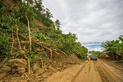 Portoviejo, Ecuador - April, 18, 2016: Landslide blocks road to the coast after 7.8 earthquake Royalty Free Stock Photos
