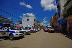 Portoviejo, Ecuador - April, 18, 2016: Rescue team vehicles  making recovery efforts after 7.8 earthquake. Portoviejo, Ecuador - April, 18, 2016: Rescue team Stock Photo