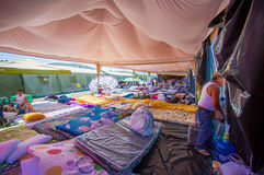 Portoviejo, Ecuador - April, 18, 2016: Tents for the refugees after 7.8 earthquake. Stock Photography
