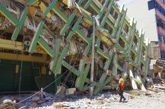 Portoviejo Ekwador, Kwiecień, -, 18, 2016: Budować pokazywać aftereffect 7 8 trzęsienie ziemi Fotografia Stock